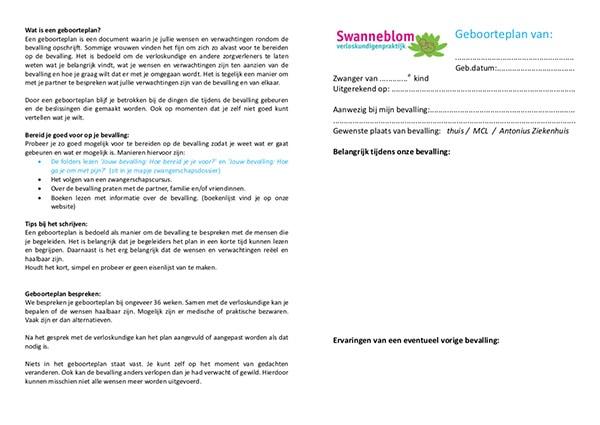 Swanneblom verloskundigenpraktijk - Geboorteplan